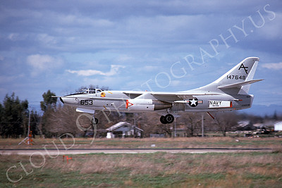 A-3USN 00004 A flying US Navy Douglas A-3 Skywarrior jet bomber, 147648, about to land at McClellan AFB 3-1975, military airplane picture, by Peter B Lewis