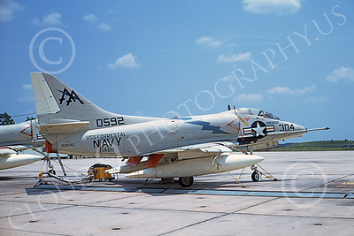 A-4USN 00198 A static Douglas A-4C Skyhawk attack jet US Navy 150592 VA-66 WALDOMEN USS Forrestal NAS Lemoore 18 July 1970 military airplane picture by Duane A Kasulka