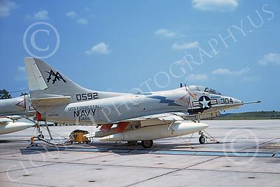 A-4USN 00198 A static Douglas A-4C Skyhawk attack jet US Navy 150592 VA-66 WALDOMEN USS Forrestal NAS Lemoore 18 July 1970 military airplane picture by Duane A Kasulka
