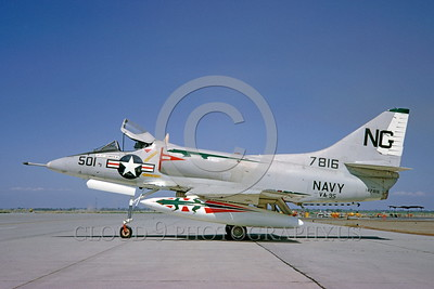 A-4USN-VA-95 0003 A static US Navy Douglas A-4C Skyhawk attack jet 147816 VA-95 GREEN LIZARDS NAS Leemore military airplane picture by Clay Jansson