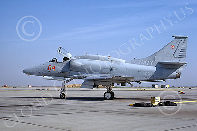 A-4USN 00341 A static Douglas A-4F Skyhawk attack jet US Navy 154992 VA-127 BATMEN NAS Fallon 10-1983 military airplane picture by Michael Grove, Sr