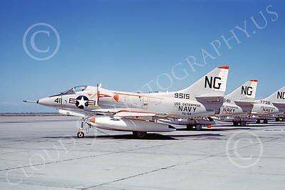 A-4USN 00189 A static Douglas A-4C Skyhawk attack jet US Navy 149515 VA-94 SHRIKES USS Enterprise NAS Lemoore 8-1965 military airplane picture by Duane A Kasulka