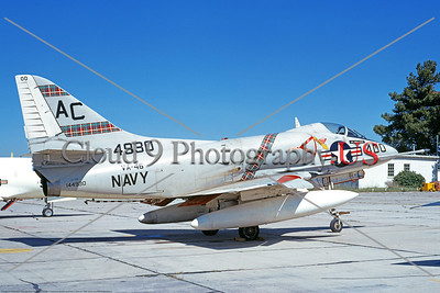 A-4USN-VA-46 001 A static Douglas A-4C Skyhawk attack jet US Navy 144930 VA-46 CLANSMEN commanding officer's airplane MCAS El Toro 3-1968 military airplane picture by Duane A Kasulka     DT copy