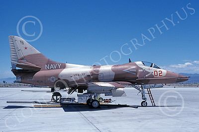 A-4USN 00183 A static Douglas A-4F Skyhawk USN 154183 VA-127 DESERT BOGEYS NAS Fallon 6-1991 military airplane picture by Michael Grove, Sr