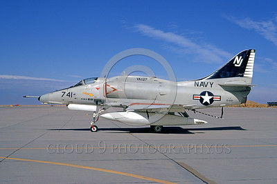 A-4USN-VA-127 0001 A static US Navy Douglas A-4F Skyhawk attack jet 154181 VA-127 BATMEN NAS Leemore 11-1973 military airplane picture by Michael Grove, Sr