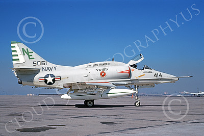 A-4USN 00213 A static Douglas A-4F Skyhawk attack jet US Navy 155061 VA-155 SILVER FOXES USS Ranger NAS North Island 1-1969 military airplane picture by Clay Janson