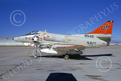 A-4USN 00195 A static Douglas A-4C Skyhawk USN 148548 VC-7 REDTAILS NAS Moffett 7-1973 military airplane picture by Michael Grove, Sr