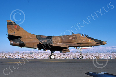 A-4USN 00223 A taxing Douglas A-4F Skyhawk USN 154190 VA-127 DESERT BOGEYS commandig officer's NAS Fallon 11-1985 military airplane picture by Michael Grove, Sr