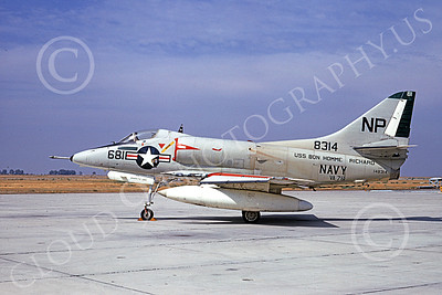 A-4USN 00209 A static Douglas A-4C Skyhawk attack jet US Navy 148314 VA-76 SPIRIT OF '76 NAS Lemoore 10-1967 military airplane picture by Duane A Kasulka