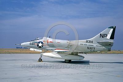 A-4USN-VA-76 0001 A static US Navy Douglas A-4C Skyhawk attack jet 148314 VA-76 SPIRIT OF '76 USS Bon Homme Richard NAS Lemoore 1-1968 military airplane picture by Doug Olson