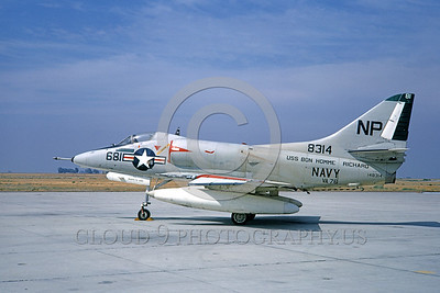 A-4USN-VA-76 0001 A static US Navy Douglas A-4C Skyhawk attack jet 148314 VA-76 SPIRIT OF '76 USS Bon Homme Richard NAS Lemoore 1-1968 military airplane picture by Doug Olson