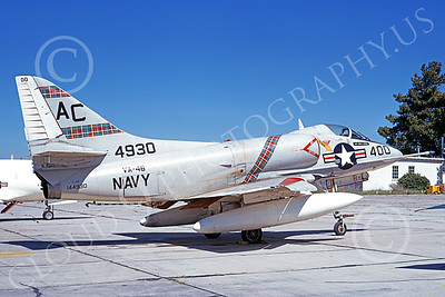A-4USN 00208 A static Douglas A-4C Skyhawk attack jet US Navy 144930 VA-46 CLANSMEN commanding officer's MCAS El Toro 23 March 1968 military airplane picture by Duane A Kasulka