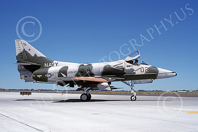 A-4USN 00211 A taxing Douglas A-4F Skyhawk USN 154172 VA-127 DESERT BOGEYS NAS Fallon 8-1988 military airplane picture by Michael Grove, Sr