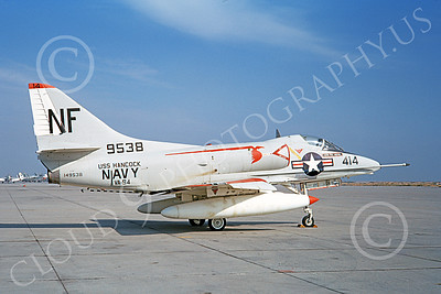A-4USN 00196 A static Douglas A-4C Skyhawk attack jet US Navy 149538 VA-94 SHRIKES USS Hancock NAS Lemoore 1-1968 military airplane picture by Doug Olson