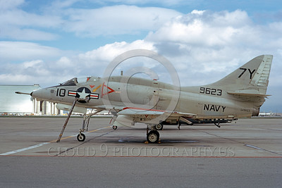 A-4USN-Generic 0003 A static US Navy Douglas A-4 Skyhawk attack jet 149623 7Y code NAS Moffett 3-1973 military airplane picture by Michael Grove, Sr