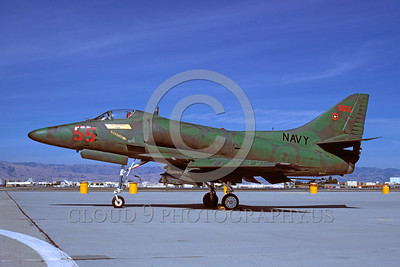 A-4USN-TOPG 0003 A static US Navy Douglas A-4E Skyhawk attack jet 150044 TOP GUN 6-1981 military airplane picture by Carl E Porter