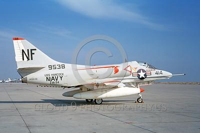 A-4USN-VA-94 0005 A static US Navy Douglas A-4C Skyhawk attack jet 149538 VA-94 SHRIKES USS Hancock NAS Lemoore 1-1968 military airplane picture by Doug Olson