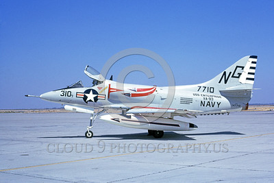 A-4USN-VA-93 0001 A static US Navy Douglas A-4C Skyhawk attack jet US Navy 147710 VA-93 BLUE BLAZERS USS Enterprise NAS Lemoore 4-1967 military airplane picture by Duane A Kasulka