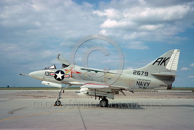 A-4USN-VA-95 0005 A static US Navy Douglas A-4C Skyhawk attack jet 142679 VA-95 GREEN LIZARDS USS Intrepid NAS Leemore 3-1967 military airplane picture by Clay Jansson