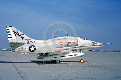 A-4USN-VA-93 0003 A static US Navy Douglas A-4F Skyhawk attack jet 154195 VA-93 BLUE BLAZERS USS Bon Homme Richard NAS Lemoore 1-1968 military airplane picture by Doug Olson