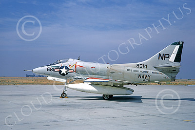 A-4USN 00210 A static Douglas A-4C Skyhawk attack jet US Navy 148314 VA-76 SPIRIT OF '76 USS Bon Homme Richard NAS Lemoore 1-1968 military airplane picture by Doug Olson