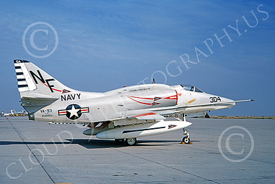A-4USN 00191 A static Douglas A-4F Skyhawk attack jet US Navy 154195 VA-93 BLUE BLAZERS USS Bon Homme Richard NAS Lemoore 1-1968 military airplane picture by Doug Olson
