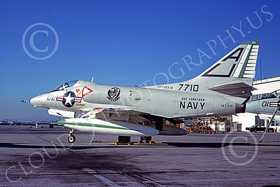 A-4USN 00413 A static Douglas A-4C Skyhawk attack jet US Navy 147710 VSF-1 WARHAWKS USS Yorktown 10-1969 military airplane picture by Clay Janson