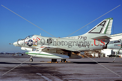 A-4USN-VSF-1  0001 A static Douglas A-4C Skyhawk attack jet US Navy 147710 VSF-1 WARHAWKS USS Yorktown 10-1969 military airplane picture by Clay Janson     DT copy