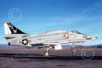 A-4USN 00336 A static Douglas A-4F Skyhawk attack jet US Navy 154209 VA-127 BATMEN NAS Fallon 3-1976 military airplane picture by Michael Grove, Sr