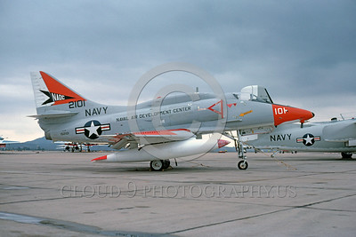 A-4USN-NADC 0001 A static US Navy Douglas A-4F Skyhawk attack jet 152101 Naval Air Development Center NADC NAS Miramar 9-1978 military airplane picture by Peter J Mancus