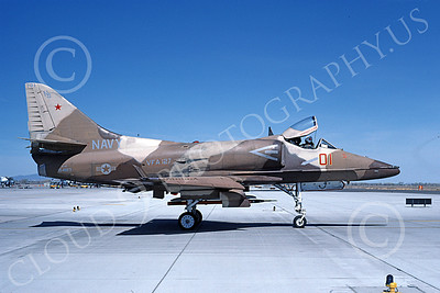 A-4USN 00201 A taxing Douglas A-4F Skyhawk USN 154183 VA-127 DESERT BOGEYS NAS Fallon 4-1947 military airplane picture by Michael Grove, Sr