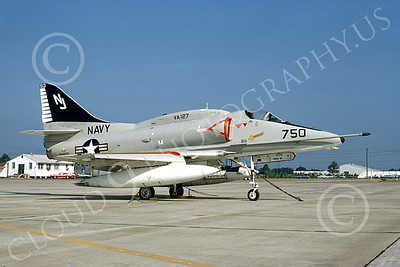 A-4USN 00339 A static Douglas A-4 Skyhawk attack jet US Navy 154976 VA-127 BATMEN NAS Albany 1 July 1972 military airplane picture by L B Sides