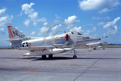 A-4USN-VA-23 0001 A static US Navy Douglas A-4E Skyhawk attack jet US Navy 151187 VA-23 BLACK KNIGHTS USS Coral Sea NAS Lemoore 3-1967 military airplane picture by Clay Janson