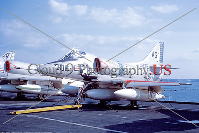 A-4USN-VA-106 002 A static US Navy Douglas A-4 Skyhawk attack jet, 149635, VA-106 RAMPAGERS, on USS Independence, 9-1969, military airplane picture by Clay Janson     DT copy