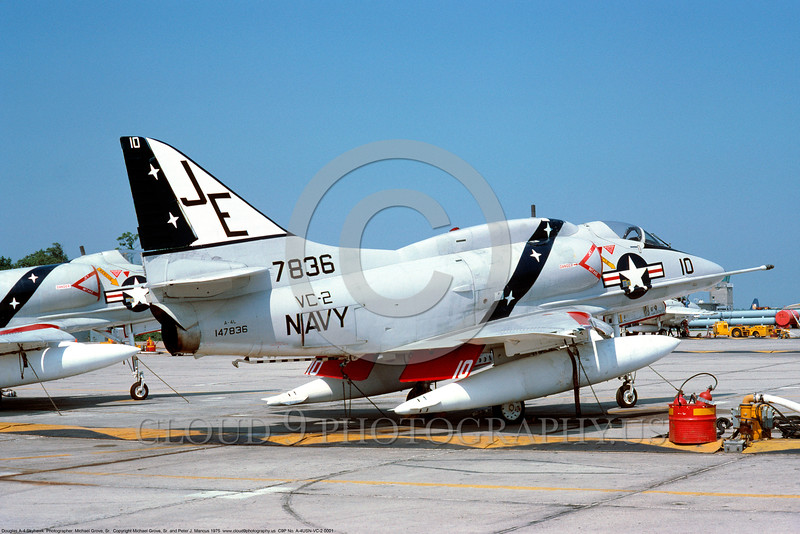 A-4USN-VC-2 0001 A static US Navy Douglas A-4L Skyhawk attack jet 147836 VC-2 FALCONS 8-1975 military airplane picture via African Aviation Slide Service