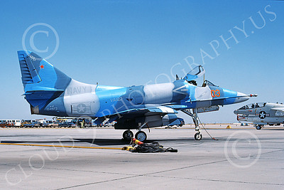 A-4USN 00338 A static Douglas A-4F Skyhawk attack jet US Navy 154973 VA-127 BATMEN NAS Lemoore 5-1985 military airplane picture by Phil Caldwell