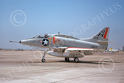 A-4USN 00187 A static Douglas A-4E Skyhawk USN 14519 VC-7 REDTAILS NAS Miramar 5-1975 military airplane picture by Michael Grove, Sr