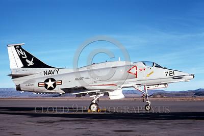 A-4USN-VA-127 0007 A static US Navy Douglas A-4F Skyhawk attack jet 154209 VA-127 BATMEN NAS Fallon 3-1976 military airplane picture by Michael Grove, Sr