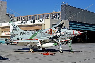 A-4USN-VA-305 0001 A static US Navy Douglas A-4 Skyhawk attack jet 149600 VA-305 LOBOS NAS Los Alamitos 12-1970 military airplane picture by Michael Grove, Sr     DT copy
