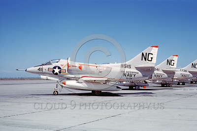 A-4USN-VA-94 0003 A static US Navy Douglas A-4C Skyhawk attack jet US Navy 149515 VA-94 SHRIKES USS Enterprise NAS Lemoore 8-1965 military airplane picture by Duane A Kasulka