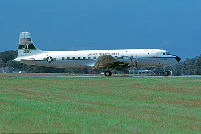 C-118USN 00017 A taxing Douglas C-118 Liftmaster USN 131601 JT code 10-1982 military airplane picture by Michael Grove, Sr   DONEwt copy