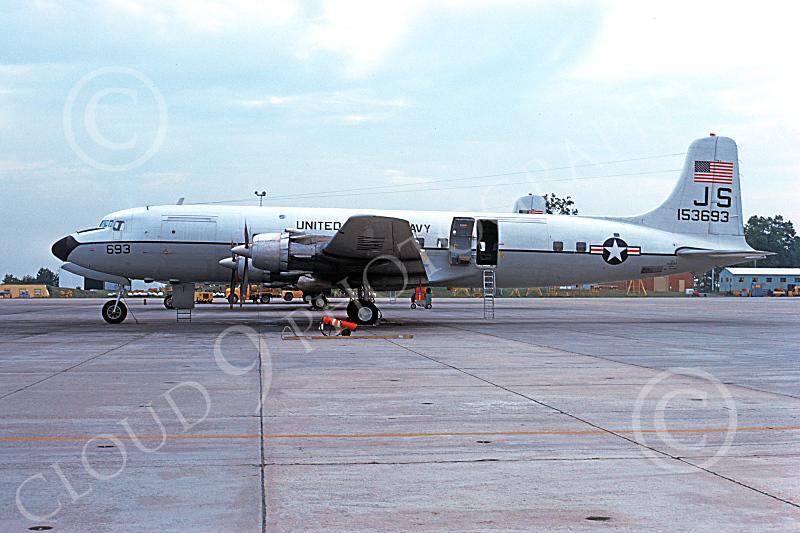 C-118USN 00027 A static Douglas C-118 Liftmaster USN 153693 JS code Atlanta 9-1974, by L B Sides