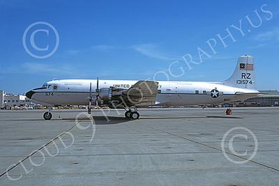 C-118USN 00029 A static Douglas C-118 Liftmaster USN 131574 RZ code BICENTENNIAL NAS Atlanta 3-1977 military airplane picture by Michael Grove, Sr