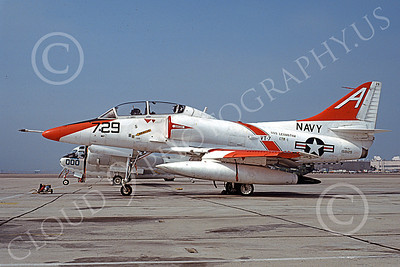 TA-4USN 00508 A static Douglas TA-4J Skyhawk jet attack trainer US Navy 158129 VT-7 EAGLES USS Lexington NAS Alameda 11-1979 military airplane picture by Michael Grove, Sr