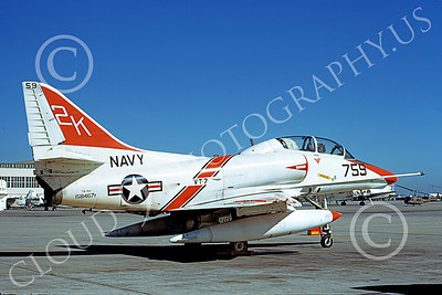 TA-4USN 00511 A static Douglas TA-4J Skyhawk jet attack trainer US Navy 158467 VT-7 EAGLES NAS Alameda 4-1973 military airplane picture by Michael Grove, Sr
