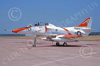 TA-4USN 00505 A static Douglas TA-4J Skyhawk jet attack trainer US Navy 158121 VT-7 EAGLES USS Lexington 8-1979 military airplane picture by Michael Grove, Sr  vv
