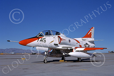 TA-4USN 00504 A static Douglas TA-4J Skyhawk jet attack trainer VT-7 EAGLES USS Lexington Luke AFB 1-1987 military airplane picture by Bob Shane