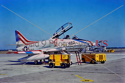 TA-4USN-NARU 001 A static, colorful, USN Douglas TA-4J Skyhawk jet trainer, 153463, 6F tail code, in 1976 bicentennial markings, 12-1975 NAS Jacksonville, military airplace picture by Stephen W  D  Wolf    DDD_4830     Dt