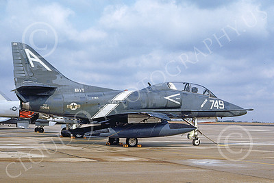 TA-4USN 00506 A static Douglas TA-4J Skyhawk jet attack trainer US Navy 153498 VT-7 Eagles Andrews AFB 3-1992 military airplane picture by David F Brown