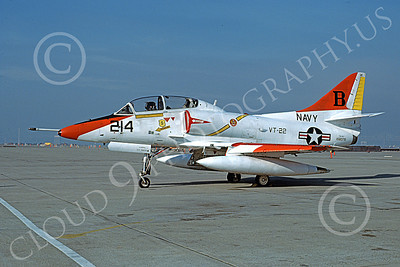 TA-4USN 00096 A static Douglas TA-4J Skyhawk jet attack trainer US Navy 158076 VT-22 GOLDEN EAGLES NAS Alameda 12-1978 military airplane picture by Michael Grove, Sr